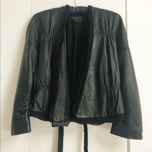 BCBG Maxazria Cropped Sleeve Leather Jacket